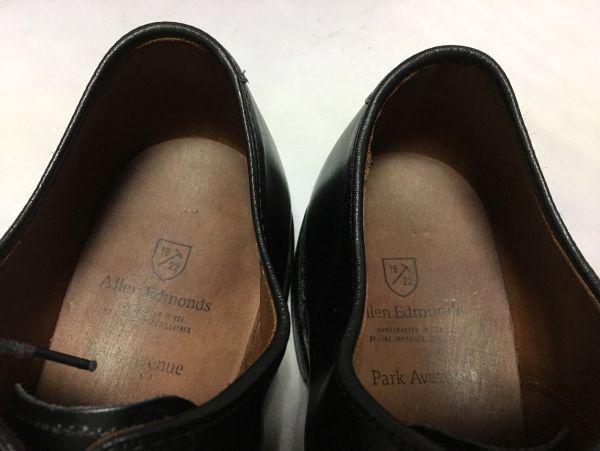 【超美品/幅広】ALLEN EDMONDS アレンエドモンズ Park Avenue パークアベニュー ストレートチップ US9.5E(約27.5cm) ブラック 革靴_画像9