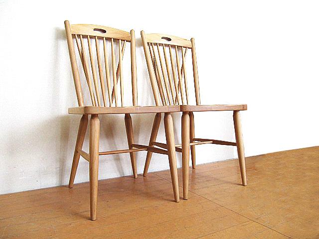 モデルルーム展示品 大塚家具 アルダー無垢材ダイニングチェア 2脚セット  椅子