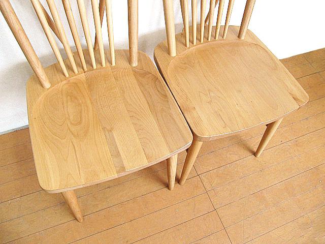 モデルルーム展示品 大塚家具 アルダー無垢材ダイニングチェア 2脚セット  椅子_画像5