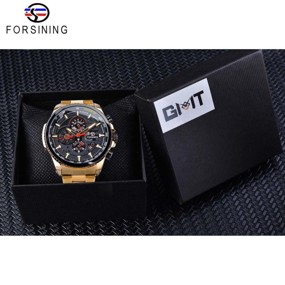 【1円スタート】海外人気ブランド Forsining スチームパンクスポーツシリーズ 防水メンズ腕時計 44mm 自動巻き スチールベルト GMT1137-1_画像7