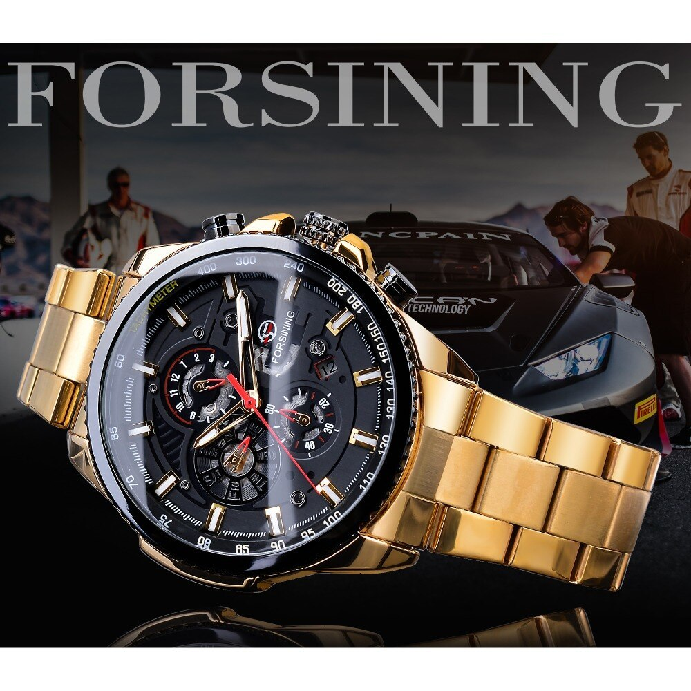 【1円スタート】海外人気ブランド Forsining スチームパンクスポーツシリーズ 防水メンズ腕時計 44mm 自動巻き スチールベルト GMT1137-1_画像3