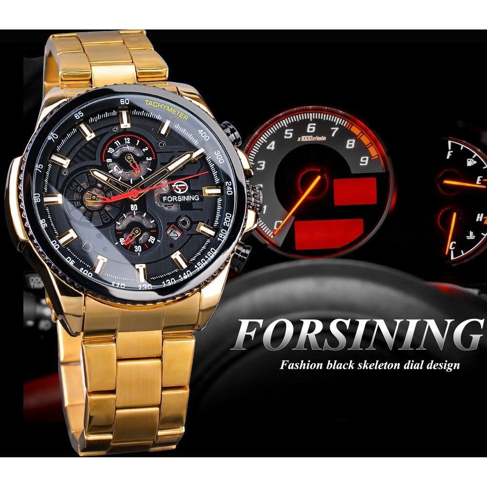 【1円スタート】海外人気ブランド Forsining スチームパンクスポーツシリーズ 防水メンズ腕時計 44mm 自動巻き スチールベルト GMT1137-1_画像4