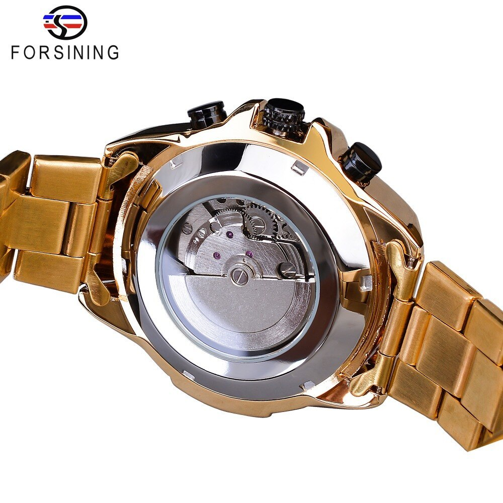 【1円スタート】海外人気ブランド Forsining スチームパンクスポーツシリーズ 防水メンズ腕時計 44mm 自動巻き スチールベルト GMT1137-1_画像5