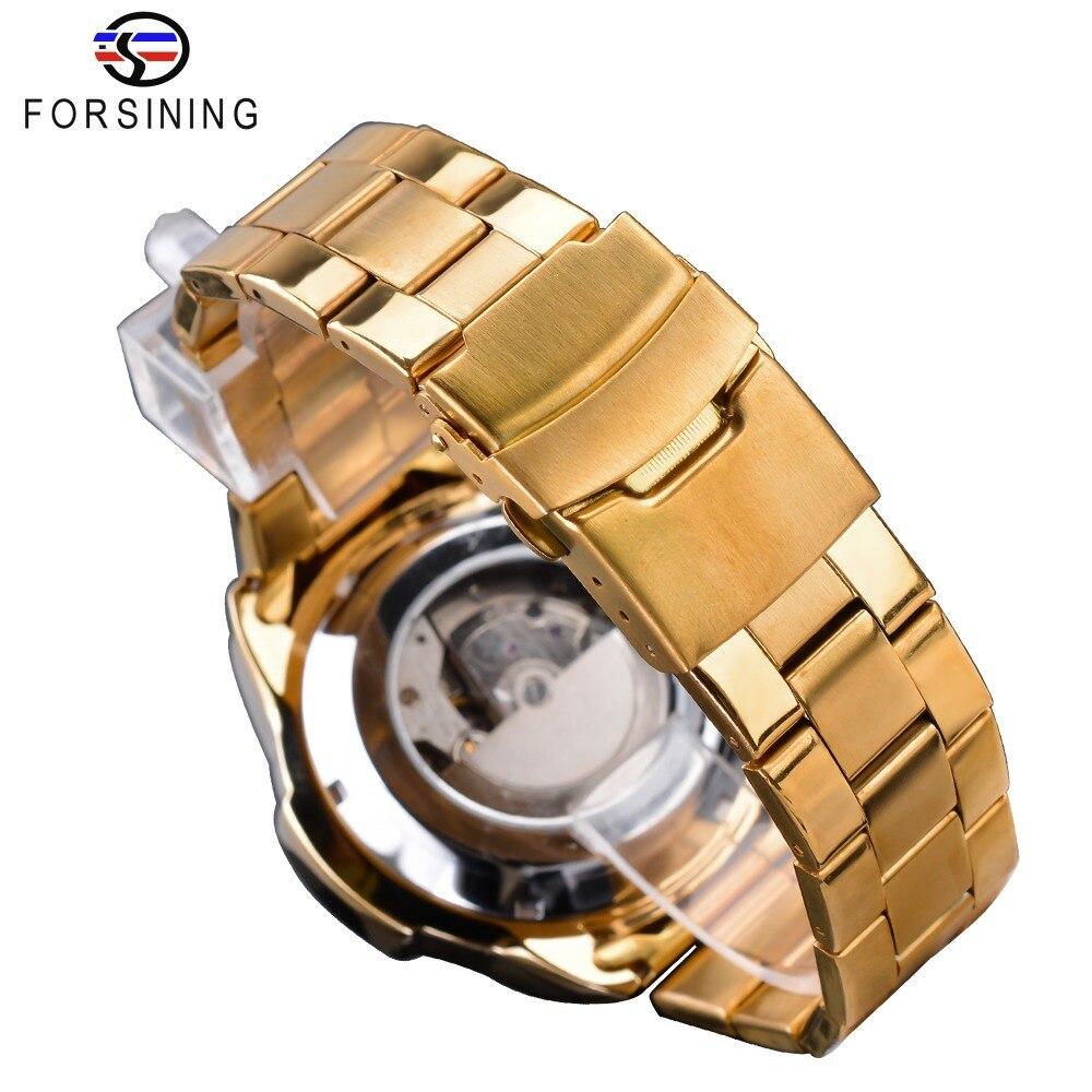 【1円スタート】海外人気ブランド Forsining スチームパンクスポーツシリーズ 防水メンズ腕時計 44mm 自動巻き スチールベルト GMT1137-1_画像6