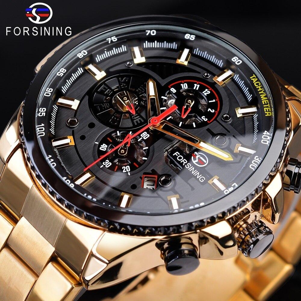 【1円スタート】海外人気ブランド Forsining スチームパンクスポーツシリーズ 防水メンズ腕時計 44mm 自動巻き スチールベルト GMT1137-1_画像2