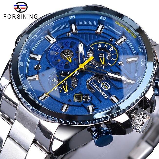 【1円スタート】海外人気ブランド Forsining スチームパンクスポーツシリーズ 防水メンズ腕時計 44mm 自動巻き スチールベルト GMT1137-1