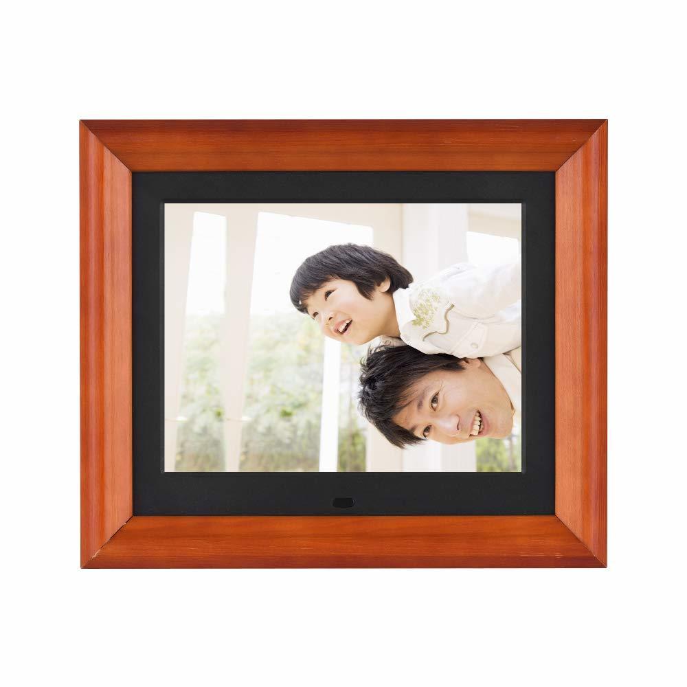 Andoer 木製 デジタルフォトフレーム 8インチ 1280 * 800 高解像度 LED 写真/動画/音楽再生 目覚まし時計 カレンダー 多機能フォトフレーム
