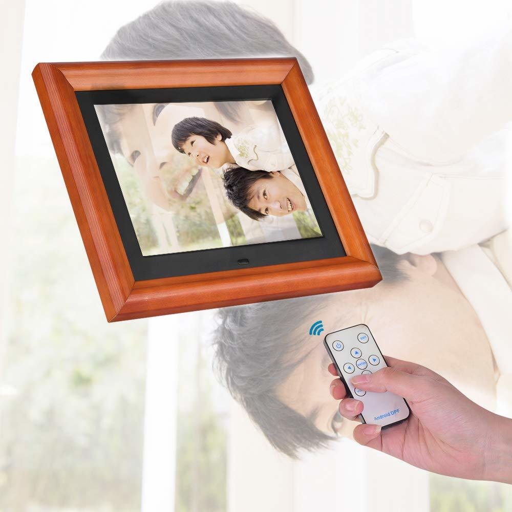 Andoer 木製 デジタルフォトフレーム 8インチ 1280 * 800 高解像度 LED 写真/動画/音楽再生 目覚まし時計 カレンダー 多機能フォトフレーム_画像5