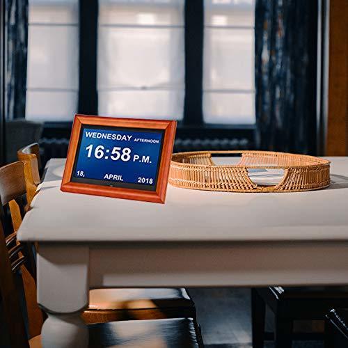 Andoer 木製 デジタルフォトフレーム 8インチ 1280 * 800 高解像度 LED 写真/動画/音楽再生 目覚まし時計 カレンダー 多機能フォトフレーム_画像6