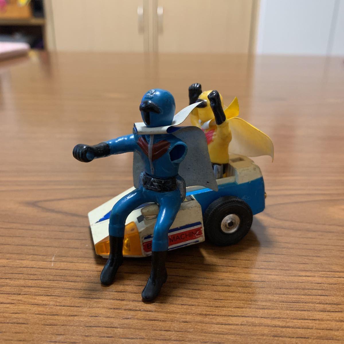 当時物 秘密戦隊ゴレンジャーのアオレンジャーとキレンジャー 超合金ポピー バイク無しサイドだけジャンク品
