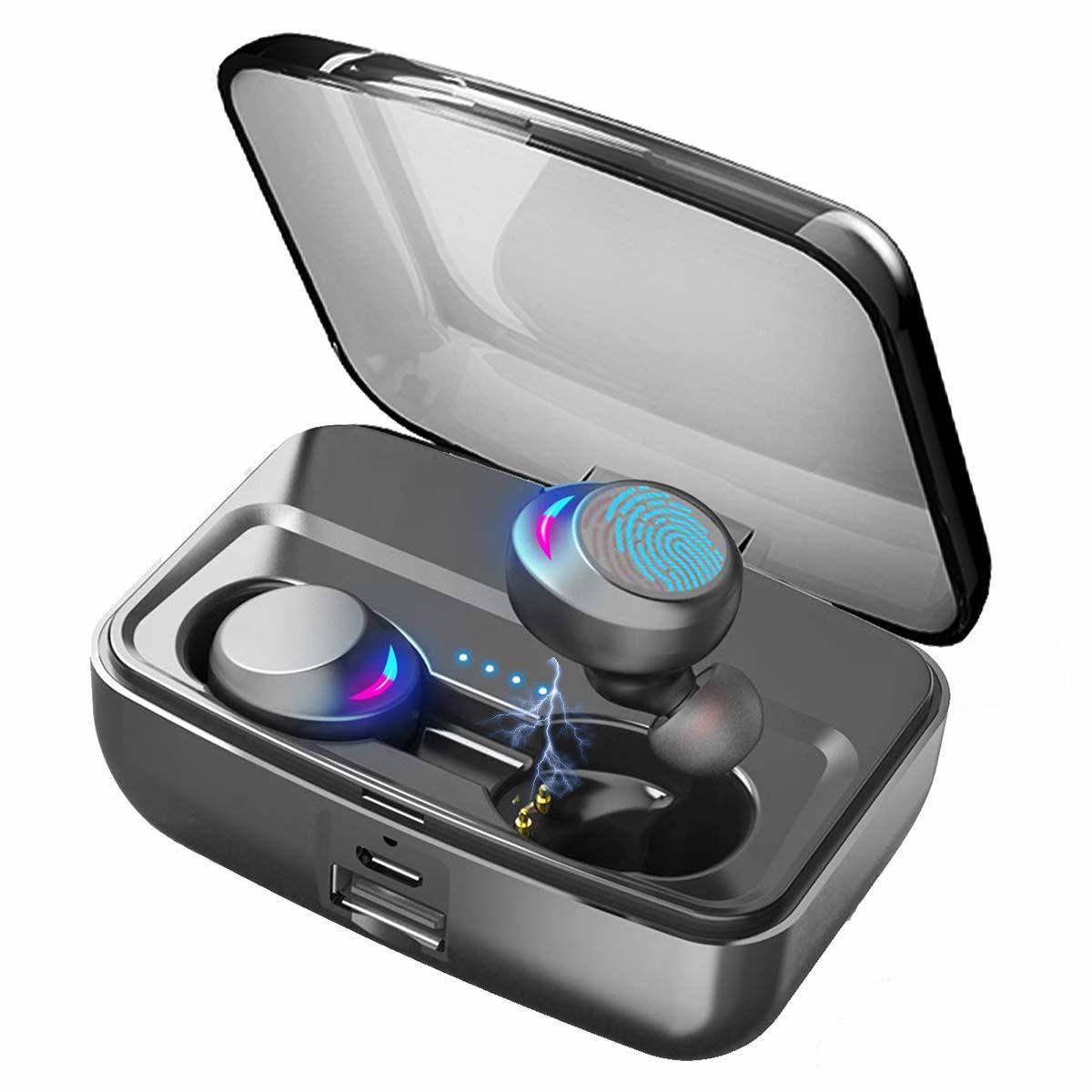 完全ワイヤレスイヤホン おすすめ Bluetooth5.0+EDR 左右分離型 両耳 IPX8完全防水 マイク内蔵 iPhone対応 通話 90時間駆動 3000mAh充電