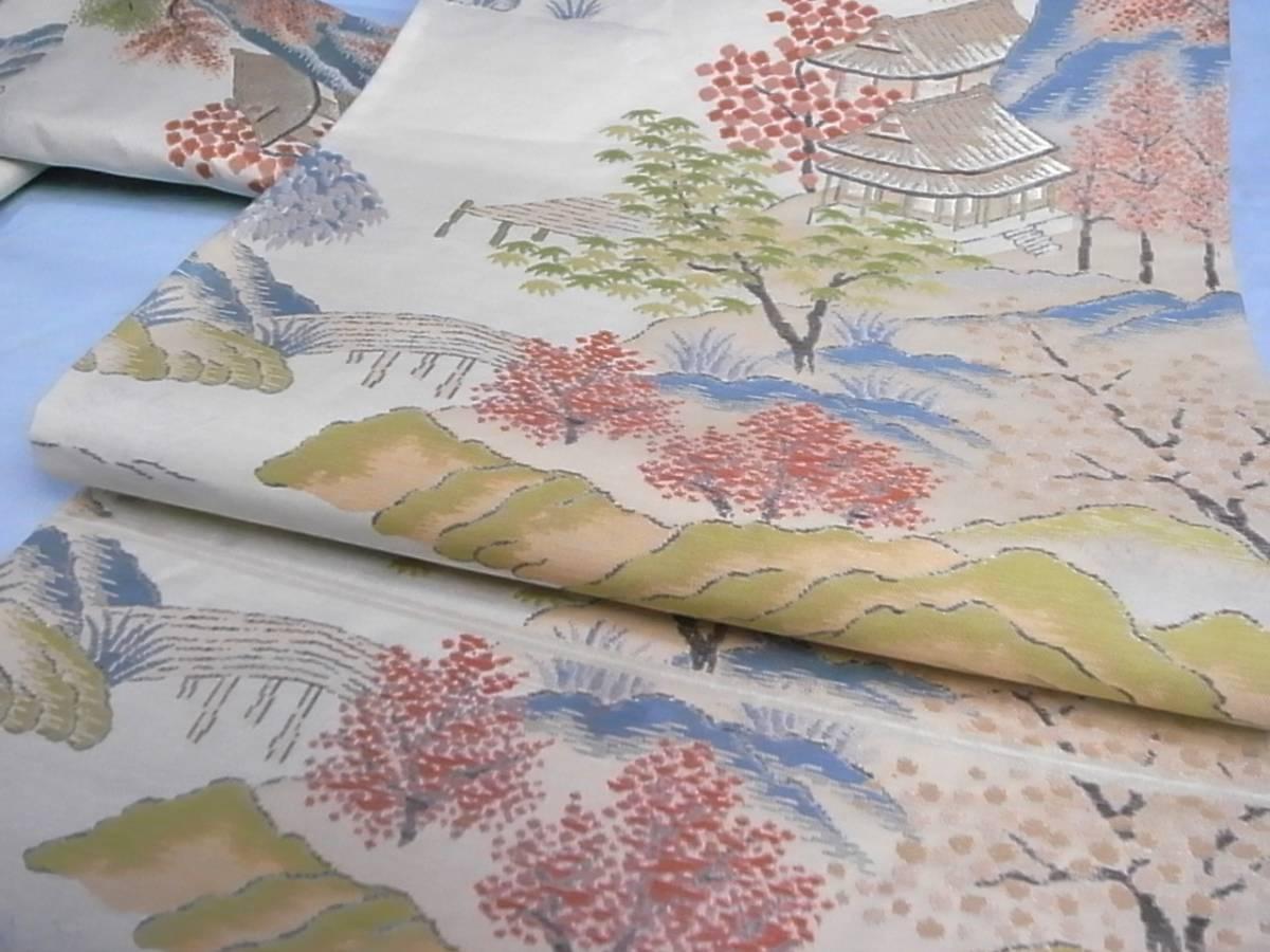 【着物のちさと屋】B558 袋帯・袷 高級 明つづれ織帯 極上美品 正絹西陣明つづれ織 遠山里風景 貴船道柄模様_画像5