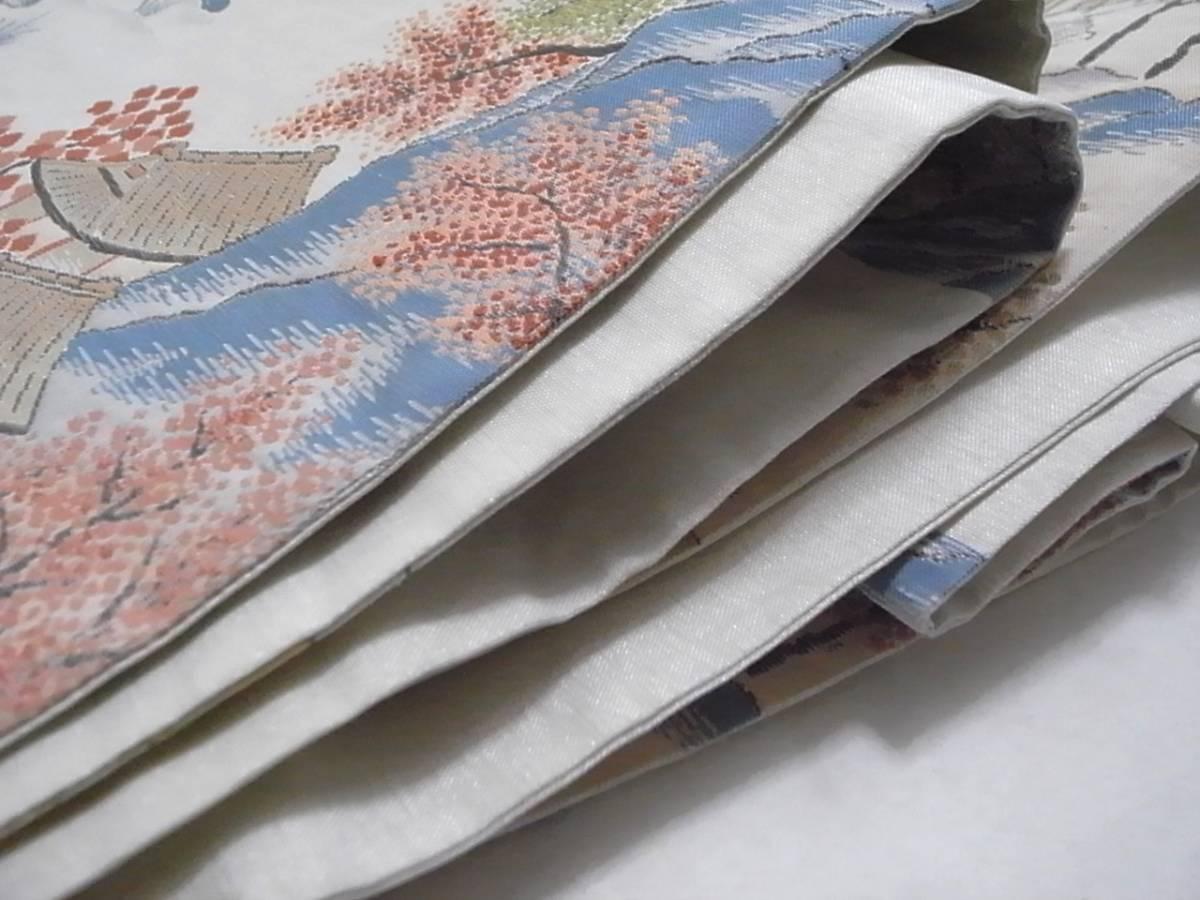 【着物のちさと屋】B558 袋帯・袷 高級 明つづれ織帯 極上美品 正絹西陣明つづれ織 遠山里風景 貴船道柄模様_画像6