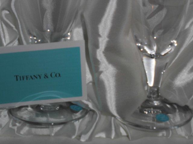 処分!新品ティファニー シャンパングラス・ワイングラス 2個セットx2種類 計4個(2箱)セットまとめて フローレット他 _画像4