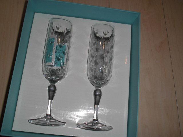 処分!新品ティファニー シャンパングラス・ワイングラス 2個セットx2種類 計4個(2箱)セットまとめて フローレット他 _画像6
