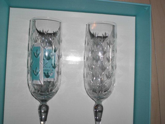 処分!新品ティファニー シャンパングラス・ワイングラス 2個セットx2種類 計4個(2箱)セットまとめて フローレット他 _画像7