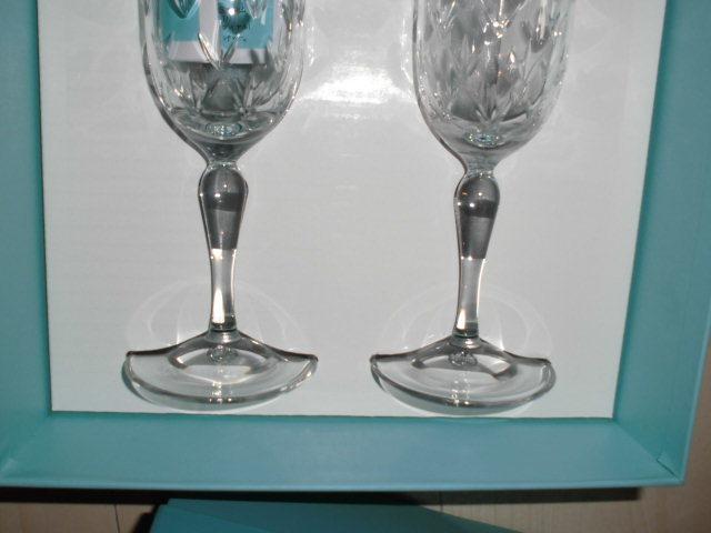 処分!新品ティファニー シャンパングラス・ワイングラス 2個セットx2種類 計4個(2箱)セットまとめて フローレット他 _画像8