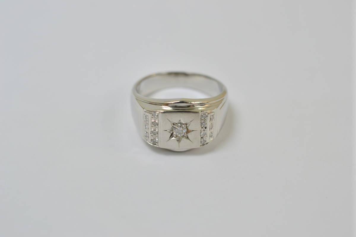 ☆極美品 Pt900 ダイアモンド メンズリング D0.21ct 12.2g☆_画像3