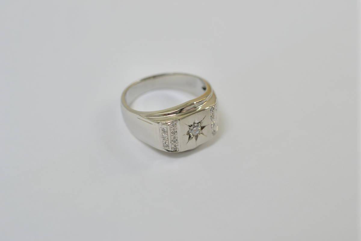☆極美品 Pt900 ダイアモンド メンズリング D0.21ct 12.2g☆_画像4