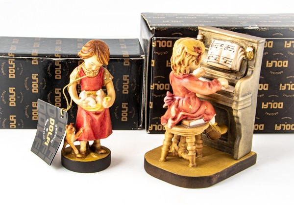 美品 2点 DOLFI ドルフィ イタリア製 木彫 人形 マイファースト 花瓶 花器 フィギュア 置物