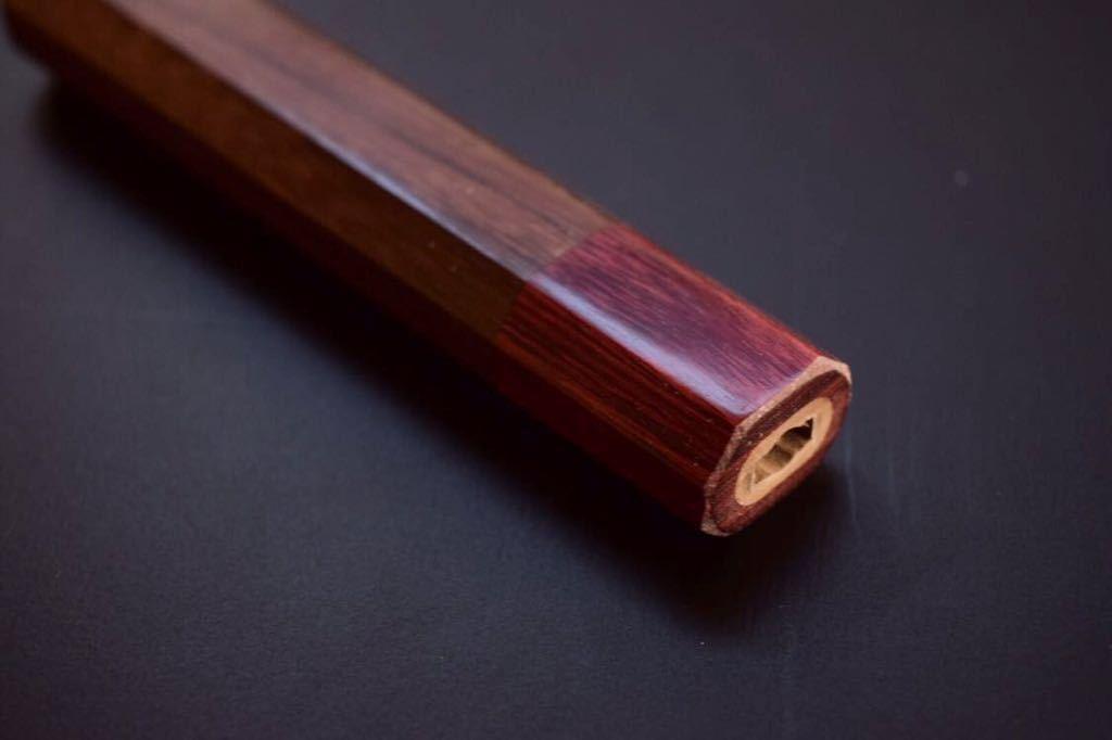 紫檀八角柄 赤積層合板口輪 和ペティナイフ 120mmから150mm用_画像2