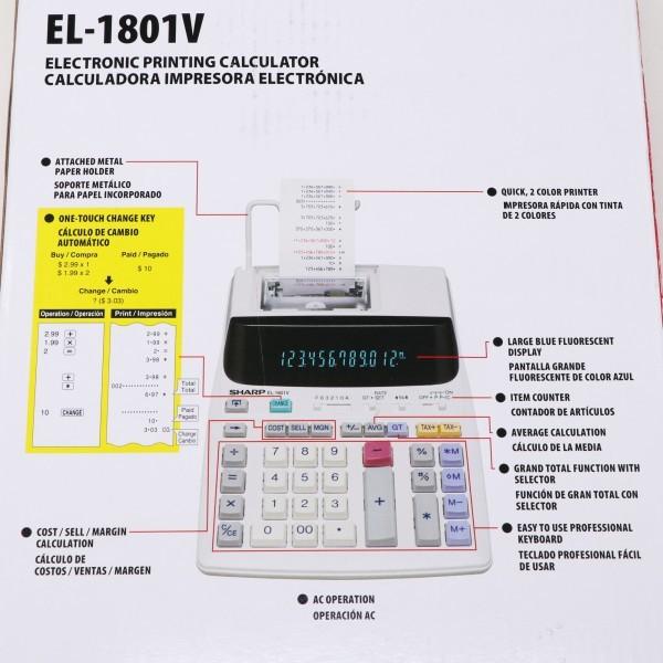 未使用新品 箱破損品■SHARP プリンター電卓 EL-1801V 12桁_画像7