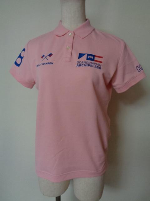 ヘリーハンセン HELLYHANSEN ポロシャツ 半袖 鹿の子 ビッグロゴ ホワイト ピンク系 Mサイズ _画像1