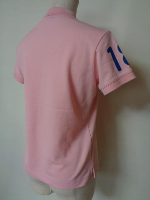 ヘリーハンセン HELLYHANSEN ポロシャツ 半袖 鹿の子 ビッグロゴ ホワイト ピンク系 Mサイズ _画像3