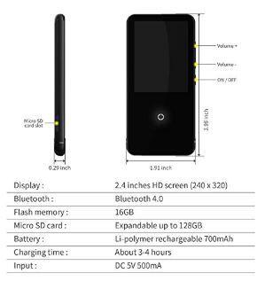 16GB Bluetooth付き MP3プレーヤー 2.4インチ スピーカー/FMラジオ/ボイスレコーダー付き ランニング用ヘッドフォンとアームバンド付き_画像5