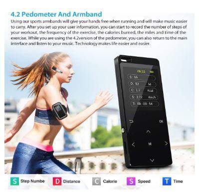 Bluetooth搭載MP3プレーヤー Hi-Fiロスレスサウンド FMラジオ ボイスレコーダー 歩数計 最大128GB アームバンドとイヤホン付き ブラック_画像5