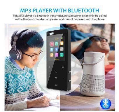 Bluetooth搭載MP3プレーヤー Hi-Fiロスレスサウンド FMラジオ ボイスレコーダー 歩数計 最大128GB アームバンドとイヤホン付き ブラック_画像2