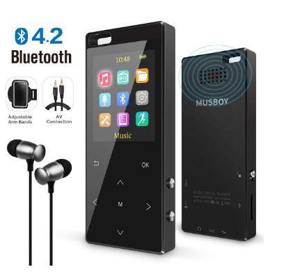 Bluetooth搭載MP3プレーヤー Hi-Fiロスレスサウンド FMラジオ ボイスレコーダー 歩数計 最大128GB アームバンドとイヤホン付き ブラック