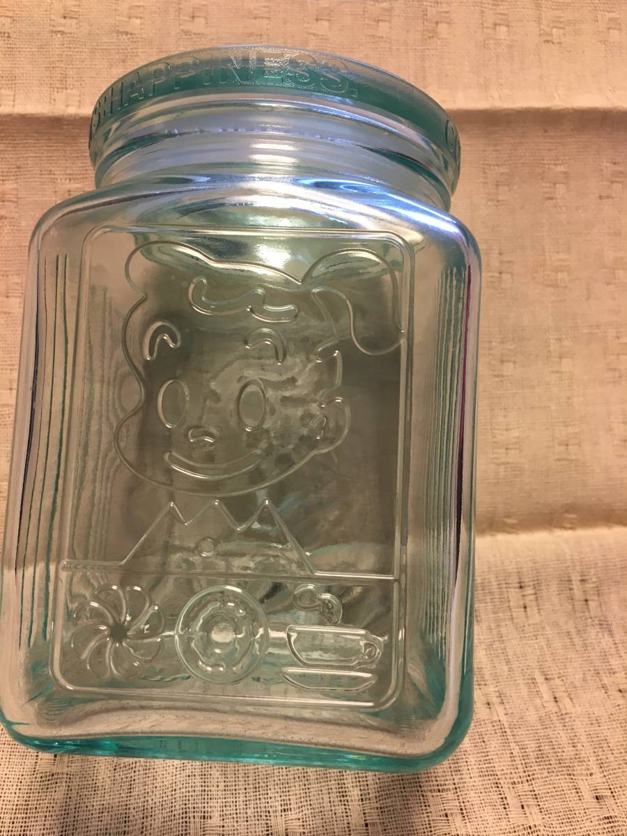 ミスタードーナツ オサムグッズ ガラス 保存容器 2000年製品 透明の薄いブルー(水色) オサム ハラダ ミスド 非売品 美品_画像3