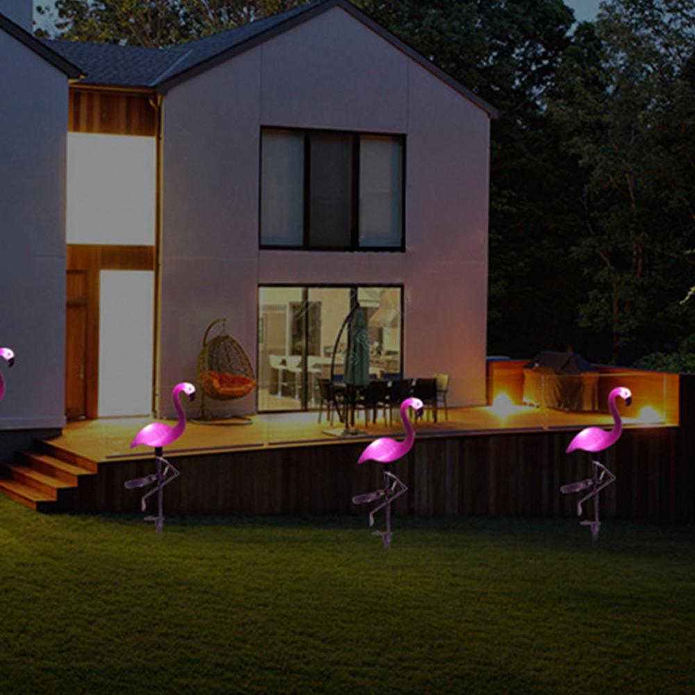 【送料無料】ガーデンライト フラミンゴ型 4個セット ソーラーパワー LED 太陽光発電 庭 デコレーション 芝生 IP44防水【領収書発行可】_画像8