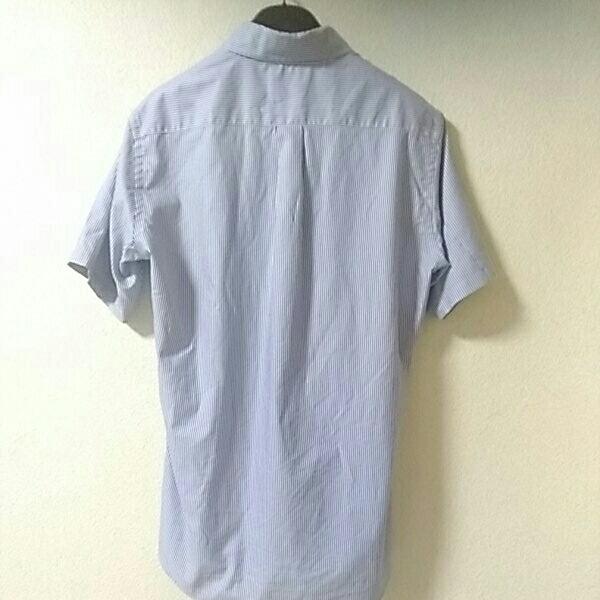 即決◇UNIQLO/ユニクロ ドライイージーケア半袖シャツ美品/メンズMサイズ/ボタンダウン/ブルーストライプ_画像2