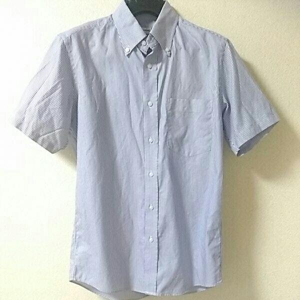 即決◇UNIQLO/ユニクロ ドライイージーケア半袖シャツ美品/メンズMサイズ/ボタンダウン/ブルーストライプ