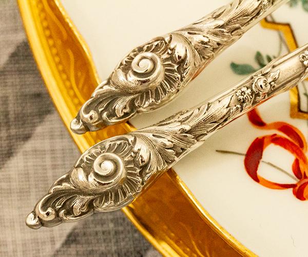 ロシア式 ロココ 大型銀器サーバーx2 銀無垢 金鍍金【n13】フランス・アンティーク・カトラリー_画像7