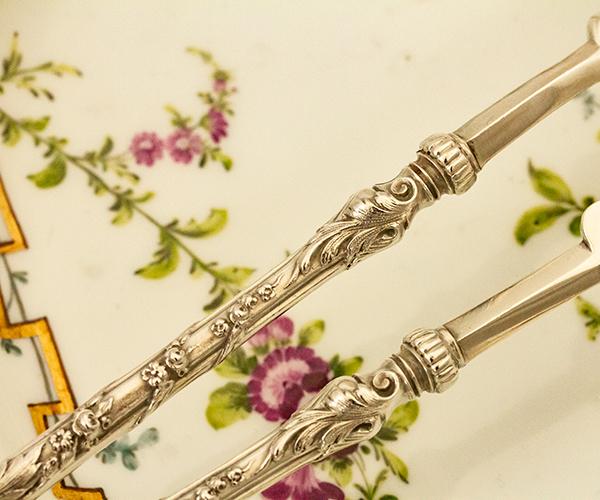 ロシア式 ロココ 大型銀器サーバーx2 銀無垢 金鍍金【n13】フランス・アンティーク・カトラリー_画像8
