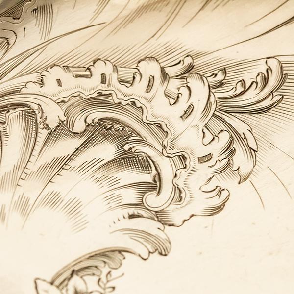 ロシア式 ロココ 大型銀器サーバーx2 銀無垢 金鍍金【n13】フランス・アンティーク・カトラリー_画像6