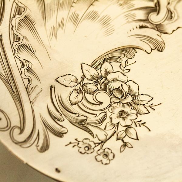 ロシア式 ロココ 大型銀器サーバーx2 銀無垢 金鍍金【n13】フランス・アンティーク・カトラリー_画像5