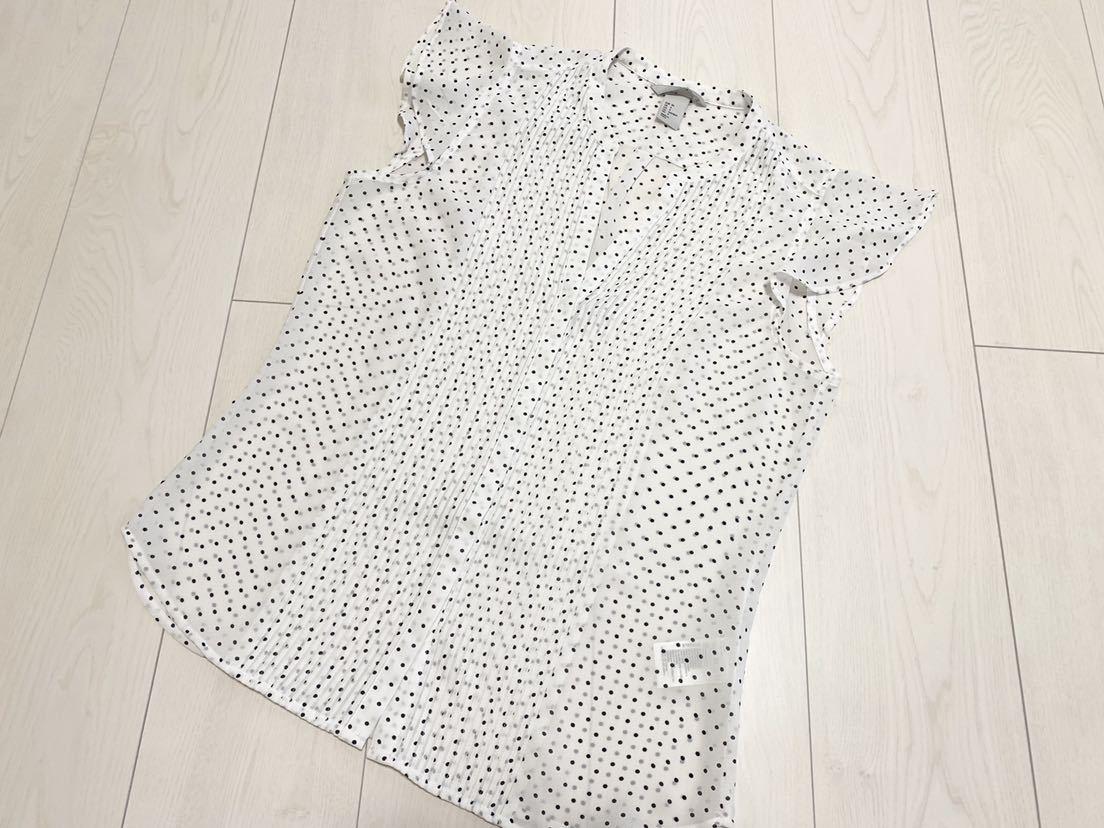 送料205円~ H&M 袖フリル ドット フレンチスリーブ ブラウス 白 黒 34 美品 ホワイト ブラック_画像4