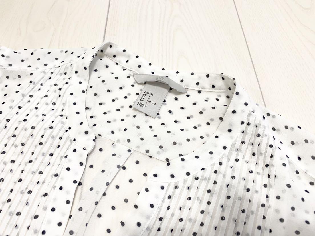 送料205円~ H&M 袖フリル ドット フレンチスリーブ ブラウス 白 黒 34 美品 ホワイト ブラック_画像5