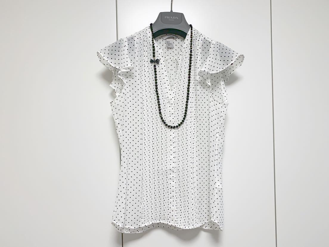 送料205円~ H&M 袖フリル ドット フレンチスリーブ ブラウス 白 黒 34 美品 ホワイト ブラック_画像1