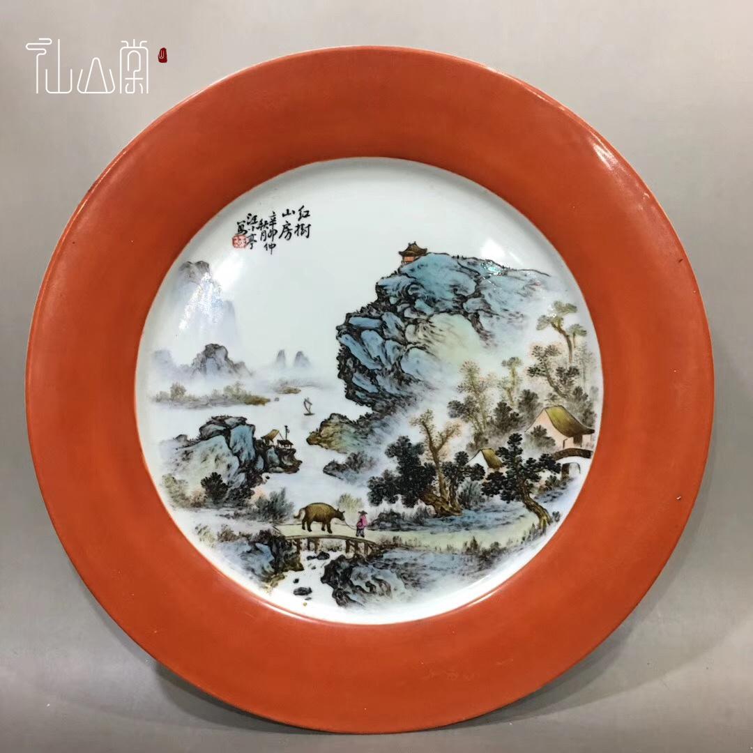 【1905C110214F】中国古董品 時代唐物 粉彩『山水』賞盤 古皿 中国古美術 唐物古玩 置物