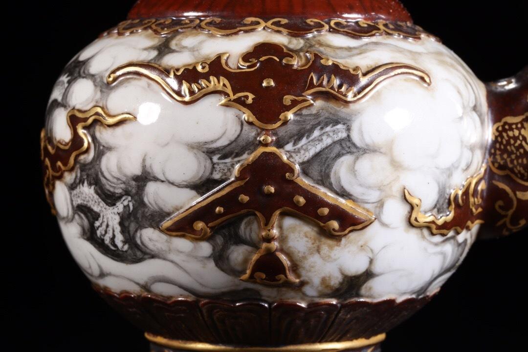 【1905C350107GYG】中国古董品 清 時代唐物 石紋釉 醤釉描金 噴巴壷 中国古美術 唐物古玩 置物 _画像3