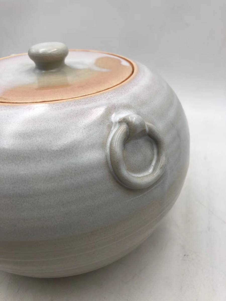 【1905C90138XXN】20世紀 荻焼 双耳 お茶缶_画像3