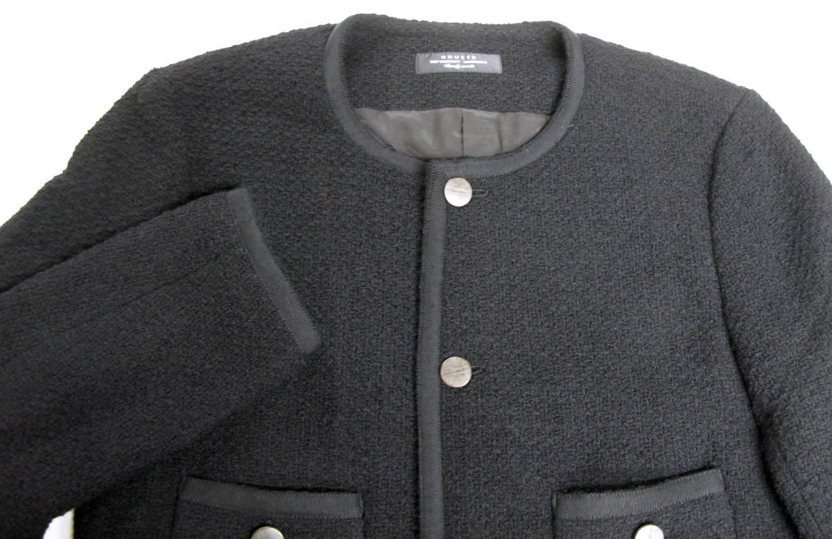 アンユーズド UNUSED×LINTON FABRIC:ノーカラー ツイード ジャケット ( リントン jacket_画像3