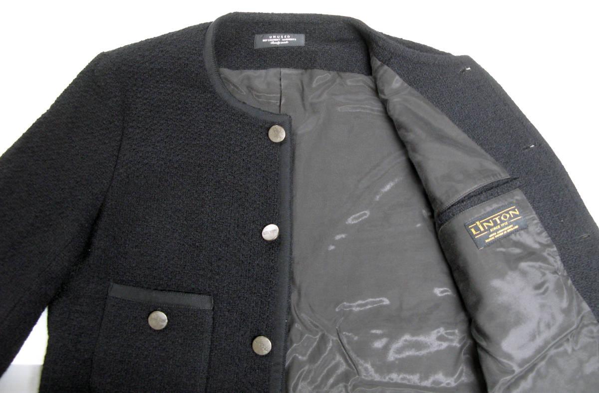 アンユーズド UNUSED×LINTON FABRIC:ノーカラー ツイード ジャケット ( リントン jacket_画像4