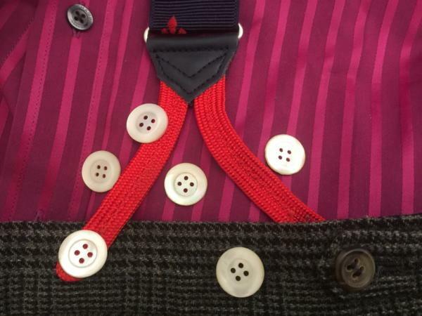 サスペンダーボタンx6 サスペンダー メンズ 紳士 ボタン留めブレイス フランス製 アンティーク 真珠母貝B558_b558