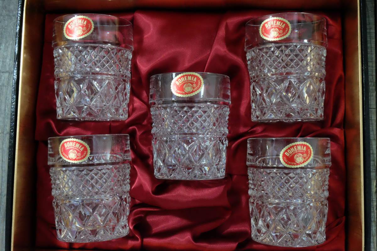 ボヘミアクリスタル ロックグラス 5客 未使用箱入  オールドファッショングラス タンブラー ウイスキー 水割り _画像2